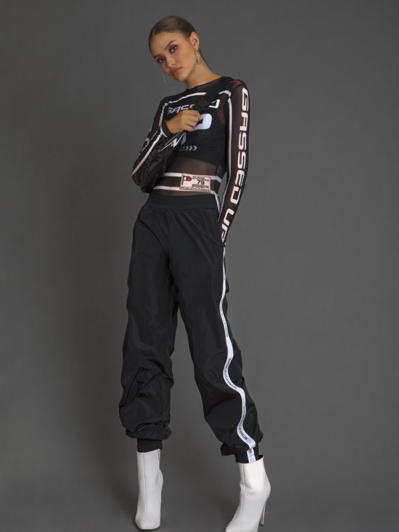 W18222 GASSED UP TULLE TOP-W18514 GHETTO TRACKING PANTS-W18003 P+C FANNY PACK
