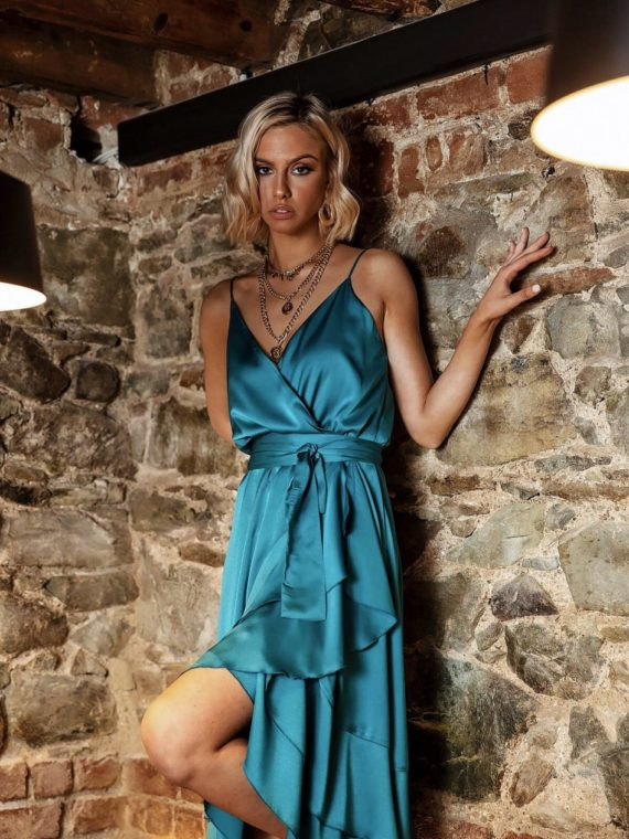 aqua-coctail-satin-dress
